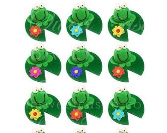 3D Fondant Edible Frog Cupcake Toppers - 12 pack