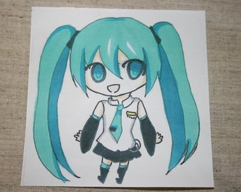 Hatsune Miku Stickers,Two Anime Hand Drawing Stickers, Miku and Len Stickers, Vocaloid Hatsuna and Len, Anime Stickers,