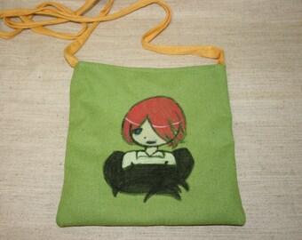 Anime Bag, Kurama Kamisama Anime Bag, Small Bag, Kawaii Kurama Bag, Crossbody Bag,  Handmade Bag, Green Bag