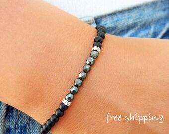 Hematite bracelet,Onyx bracelet,Stretch bracelet,Gemstone bracelet,Energy bracelet,Yoga bracelet