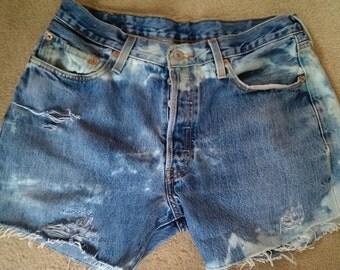 Levi acid wash denim shorts 501 34w