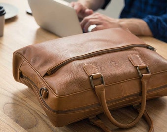 Fox Archer Briefcase - Caramel Tan Briefcase / Messenger / Laptop Bag