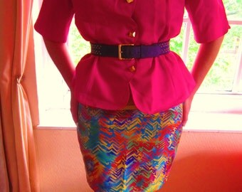 Vintage Bright Pink Zig Zag Jacket