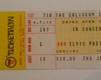 Authentic 1975 Elvis Presley concert ticket stub with COA