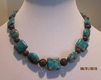 Australian Blue Jasper necklace and earring set