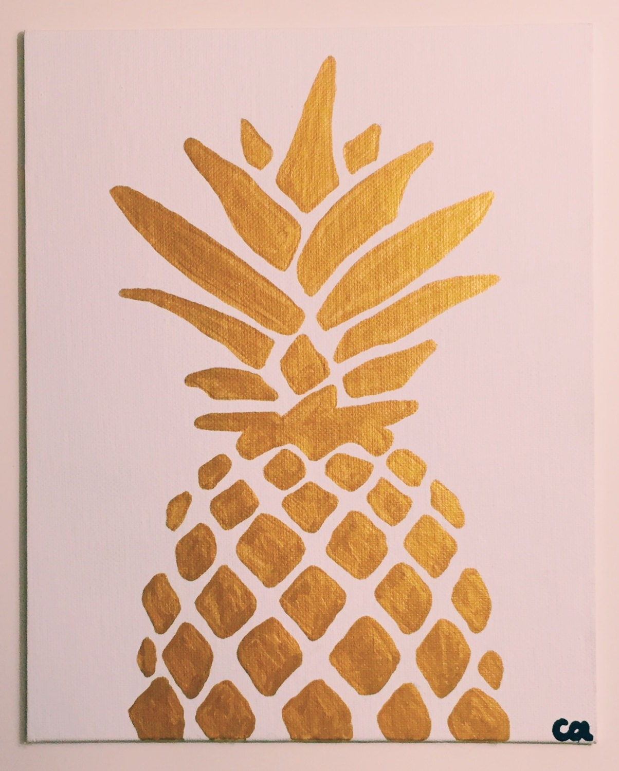 Gold metallic pineapple painting ready to ship 8x10 acrylic for Things to paint on your wall