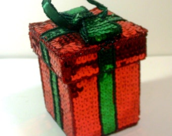 Vintage Red Sequin Gift Box with Green Ribbon and Attached Lid