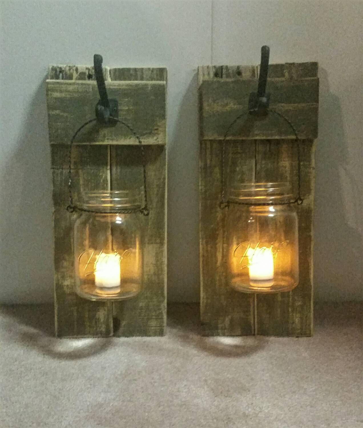 Mason Jar Wall Decor How To : Rustic wood mason jar wall decor with flameless candles