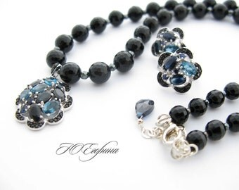 """Necklace and earrings """"Black Night"""" Black agate gematite sterling silver"""