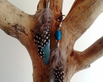 Natural feathers Pearl turquoise wood