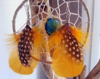 Earrings feather Orange