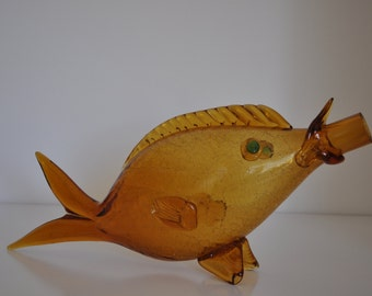 Vintage Art Glass - Large Blown-Glass Fish in Yellow