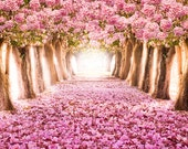 Pink Flower Tree Backdrop - romantic tunnel - Printed Fabric Photography Background G0001