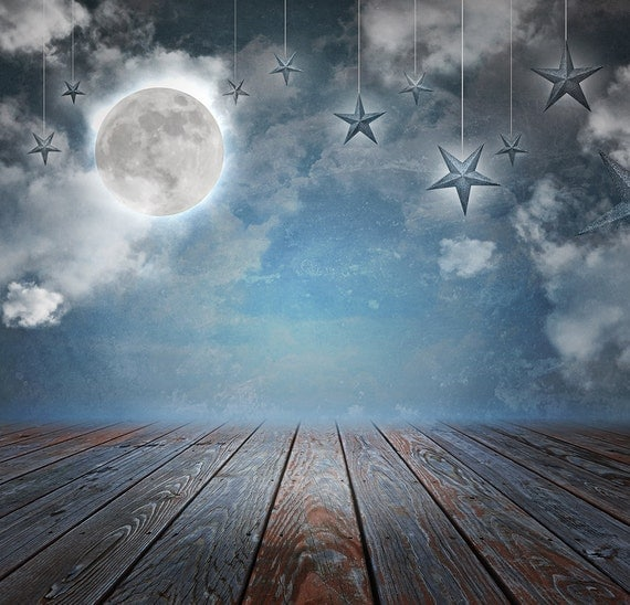 Night Moon And Star Backdrop For Children Photos Printed