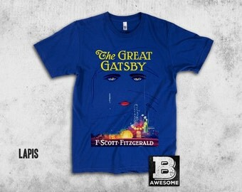 The Great Gatsby Vintage Book Cover T Shirt, Book Art Roaring Twenties American Literature Tee, Librarian, Birthday Gift Idea Back To School