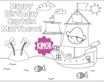 Printable Pirate Ship Coloring Page for a Birthday