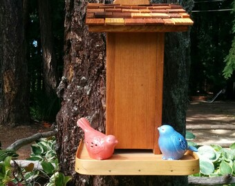 Tall Wood Bird Feeder With Shingled Roof