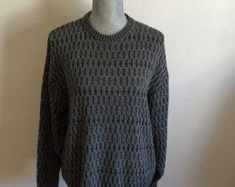 L Grey Knit Italian Sweater Pronto-uomo Firenze Large