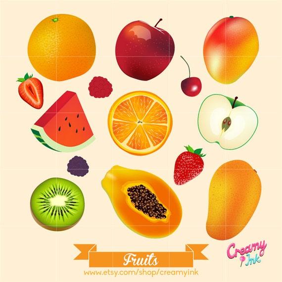 Fruits Digital Vector Clip art / Summer Tropical Fruit Apple
