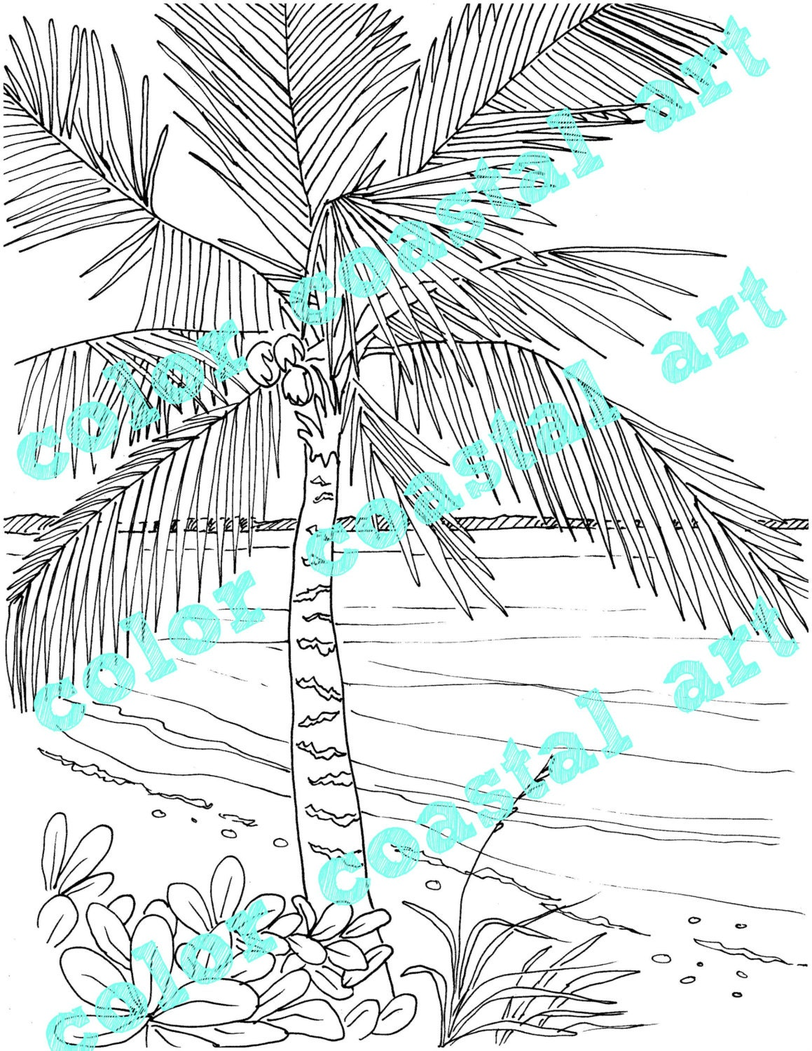 palm tree coloring page embroidery pattern pdf download