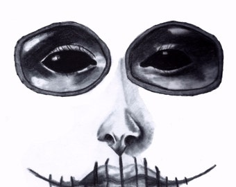 Creepy Sugar Skull, Day of the Dead Girl Charcoal Sketch - 8 1/2 x 11