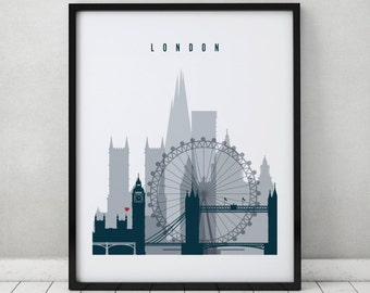London skyline art print, Poster, Wall art, Travel decor, England art, City poster, Typography art, Gift, Home Decor, ArtPrintsVicky