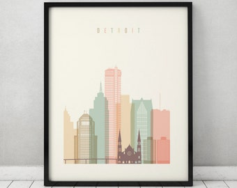 Detroit print, Poster, Wall art, Michigan cityscape, Detroit skyline, City poster, Typography art, Home Decor Digital Print ArtPrintsVicky.