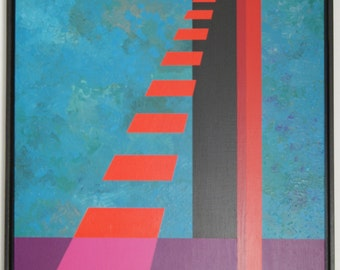 Geomtric Acrylic Painting - OPY ZOUNI (1941-2008)