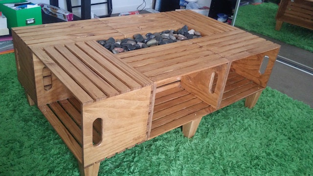 Custom made wine crate coffee tables made by for Table made from crates