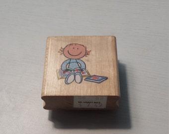 Girl Reading Stamp