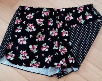 Pajama shorts - strawberries and polka dots