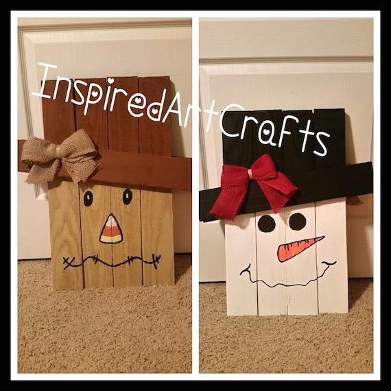 Wooden Reversible Scarecrow/Snowman