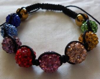 Rainbow and Black - Shamballa Bracelet