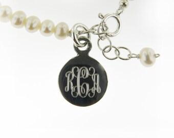 Monogrammed Engraved .925 Sterling Silver & Freshwater Pearls Baby Bracelet