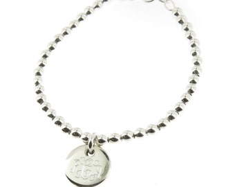 925 Sterling Silver Monogram Personalized Baby or Childred Size Ball Bead Bracelet