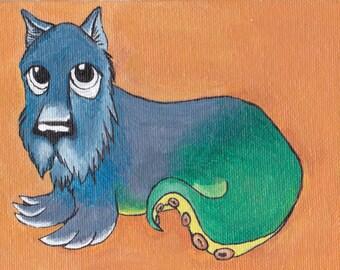 "Original Painting by Dasha ""Adorable Puppy"" OOAK Surreal Acrylic"