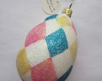 Vintage Christmas Ornament Harlequin Egg Hand Blown Glass Made In Czech Republic  #68