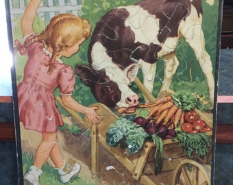 Vintage 1945 Whitman Frame Tray Puzzle No 2605 Girl and Cow Eating Vegetables