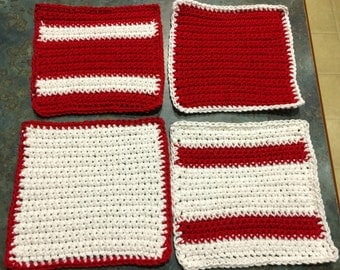 Washcloths or Dishcloths Red and White Handmade Crochet Qty of 4