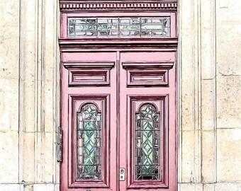 Paris Red Door Photo Sketch, Parisian Architecture, 8x10 Inch Fine Art Print