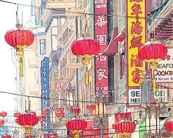 Chinese Red Lanterns Photo Sketch, San Francisco Chinatown, 8x10 Fine Art Print