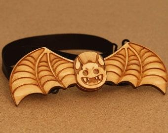 Halloween Brown Bat Wood Bow Tie. Handmade laser cut party gift!