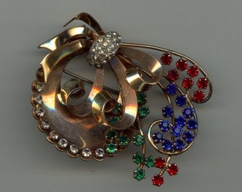 1940's Retro Style Brooch with Multi-Colored Stones Gold Filled
