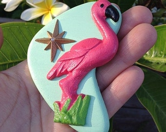 NEW COLOR - Pink Flamingo Brooch - Mint Boomerang - Handmade Atomic Novelty Brooch - Tacky Kitsch Mid Century Modern - John Waters Divine In