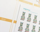 Owl planner stickers, owl on books, reading, book club, homework, return library books, back to school, calendar stickers, owl stickers