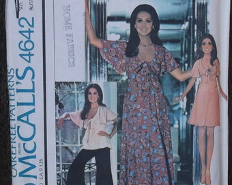 Vintage 70s Flutter Sleeve Tie Scoop Neck Tunic, Mini & Maxi Dress w/ Palazzo Pants Sewing Pattern / McCalls 4624 // Sz 12 Bust 34