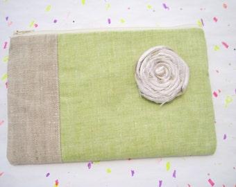 Linen Pouch 2 pockets, silk rosette,medium,light green, clutch, everyday zipper pouch -  - Light green
