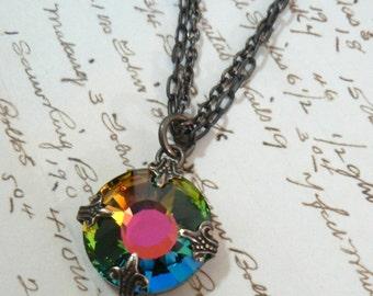 Vitrail Sun multicolor Swarovski crystal pendant double natural brass chain necklace rainbow multi color