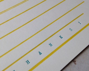 Horizontal stripe letterpress thanks