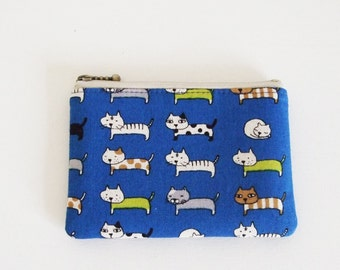 mini zipper pouch  - cats(blue)